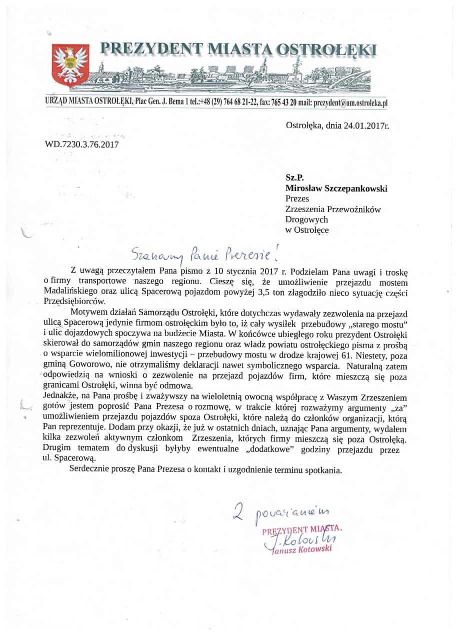 pismo Prezydent